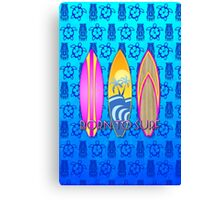 Pink Born To Surf Blue Tiki Mask Canvas Print