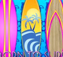 Pink Born To Surf Blue Tiki Mask Sticker