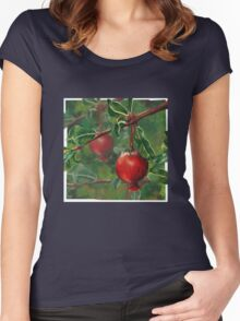 Hand Painted Red Pomegranate Fruit with Green Leaf Background Women's Fitted Scoop T-Shirt