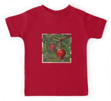 Hand Painted Red Pomegranate Fruit with Green Leaf Background Kids Tee