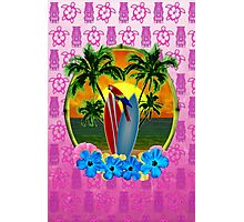 Tropical Sunset Pink Tiki Mask Photographic Print