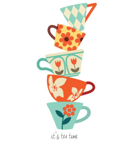 tea cups - it's tea time Sticker