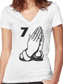 HANDS Drake Ovo Owl Rap Music  Women's Fitted V-Neck T-Shirt