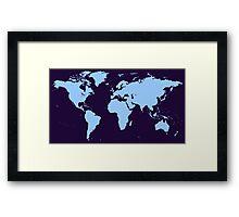 Light blue world map Framed Print