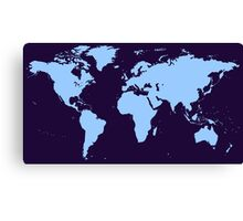 Light blue world map Canvas Print