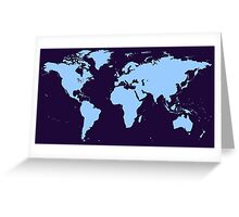 Light blue world map Greeting Card