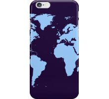 Light blue world map iPhone Case/Skin