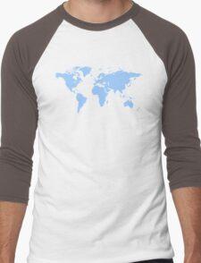 Light blue world map Men's Baseball ¾ T-Shirt