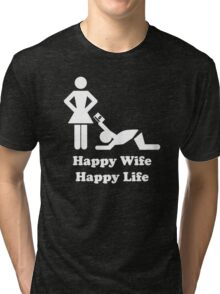 Happy Wife Happy Life Husband Holiday Wedding Tri-blend T-Shirt