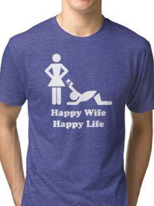 Happy Wife Happy Life Husband Holiday Wedding Tri-blend T-Shirt