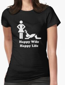 Happy Wife Happy Life Husband Holiday Wedding Womens Fitted T-Shirt