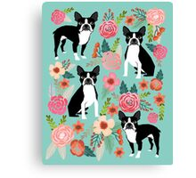 Floral Boston Terrier cute dog spring bloom love valentines day gift terrier black and white puppy Canvas Print