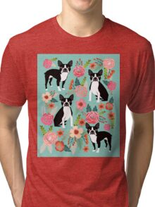 Floral Boston Terrier cute dog spring bloom love valentines day gift terrier black and white puppy Tri-blend T-Shirt