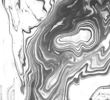 Katsuro - spilled ink marble paper map topography painting black and white minimal ocean swirl by spilledinkshop