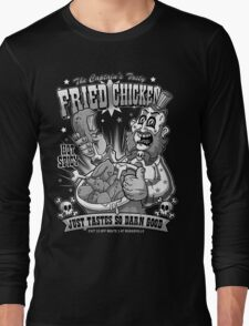 Tasty Fried Chicken- Black and White version Long Sleeve T-Shirt