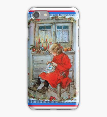 Winter Sewing Child Candle in the Window  iPhone Case/Skin