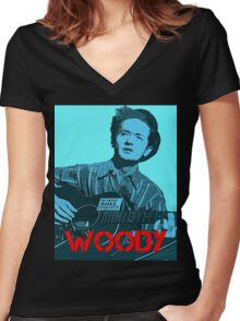 WOODY GUTHRIE Women's Fitted V-Neck T-Shirt