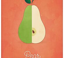 Pear (orange) - Natural History Fruits by RedHillPrints