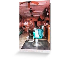 Barber Shop With Green Barber Chairs Greeting Card