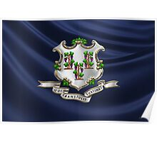 Connecticut Coat of Arms over State Flag Poster
