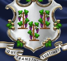 Connecticut Coat of Arms over State Flag Sticker