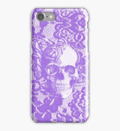 Lavender lace rose skull iPhone Case/Skin