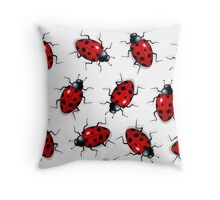Ladybugs Pattern, Original Art, Illustration, Insects Throw Pillow