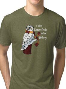 Harry Potter Inspired Hipster Owl Tri-blend T-Shirt