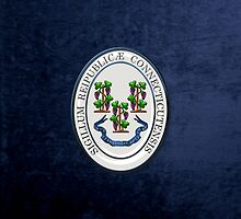 Connecticut State Seal over Blue Velvet by Serge Averbukh