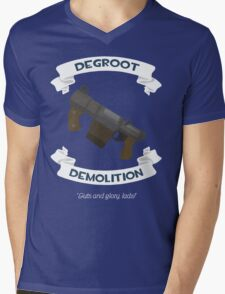 Degroot Demolition (BLU) Mens V-Neck T-Shirt