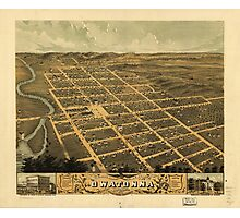 Bird's eye view of Owatonna, Steele County, Minnesota (1870) Photographic Print