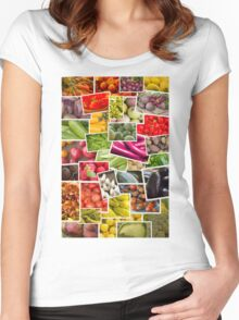 Fruits and Vegetables Collage Women's Fitted Scoop T-Shirt