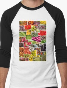 Fruits and Vegetables Collage Men's Baseball ¾ T-Shirt