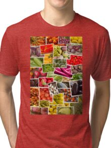 Fruits and Vegetables Collage Tri-blend T-Shirt