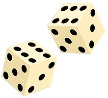 LUCKY, DOUBLE SIX, DICE, Throw the Dice, Casino, Game, Gamble, CRAPS by TOM HILL - Designer
