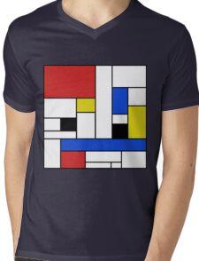 Mondrian Lines Mens V-Neck T-Shirt