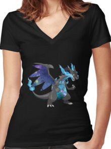 Mega Charizard X - Pokemon Women's Fitted V-Neck T-Shirt