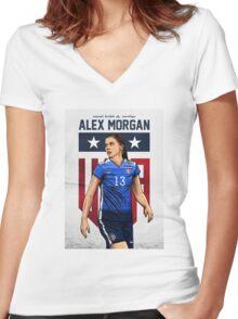 Alex Morgan Art Women's Fitted V-Neck T-Shirt