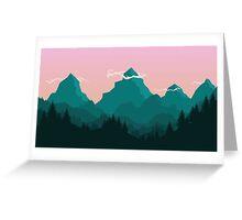 Sunset behind mountains Greeting Card