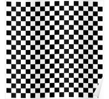 Check pattern. Checkered pattern. Black and white check pattern. Checkerboard. Chessboard. Poster