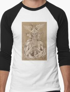 grayscale image of dead king with birds2 Men's Baseball ¾ T-Shirt