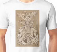 grayscale image of dead king with birds2 Unisex T-Shirt