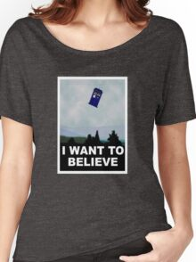 """I Want To Believe"" Police Public Call Box version.  Women's Relaxed Fit T-Shirt"