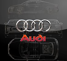 Audi 3D Badge over 2016 Audi R8 Silver Blueprint on Black Special Edition by Serge Averbukh