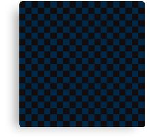 Check pattern. Checked Square. Checkered pattern. Black and blue. Checkerboard pattern. Chessboard pattern. Canvas Print