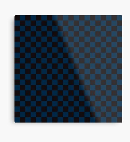 Check pattern. Checked Square. Checkered pattern. Black and blue. Checkerboard pattern. Chessboard pattern. Metal Print