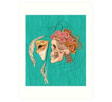 illustration with skull holding a human face mask Art Print