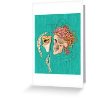 illustration with skull holding a human face mask Greeting Card