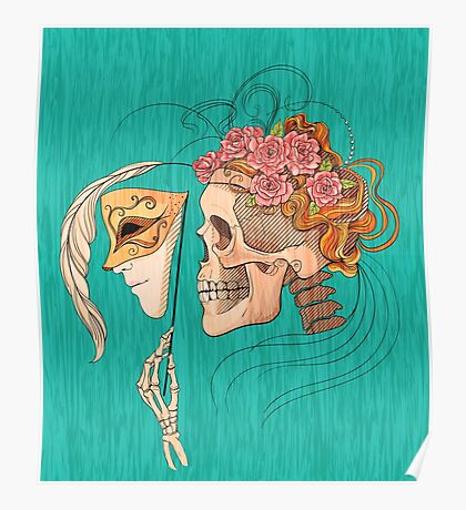 illustration with skull holding a human face mask Poster