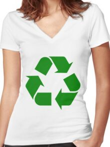 RECYCLE-2 Women's Fitted V-Neck T-Shirt